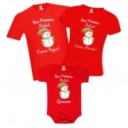 Kit Família Primeiro Natal Boneco de Neve com Nome