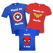 Camisetas de Aniversário Super Heróis  Capitão América Mulher Maravilha Homem Aranha Personalizadas Com Nome