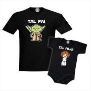 Kit Camiseta e Roupinha de Bebê Pai e Filha Star Wars Yoda e Leia