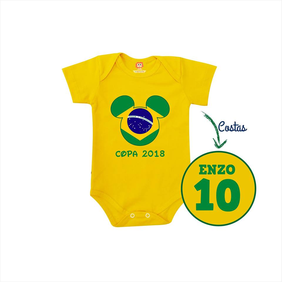 Body ou Camiseta Infantil Mickey ou Minnie Copa do Mundo