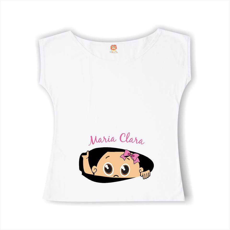 Bata ou Camiseta Gestante Bebê Espiando Menino ou Menina