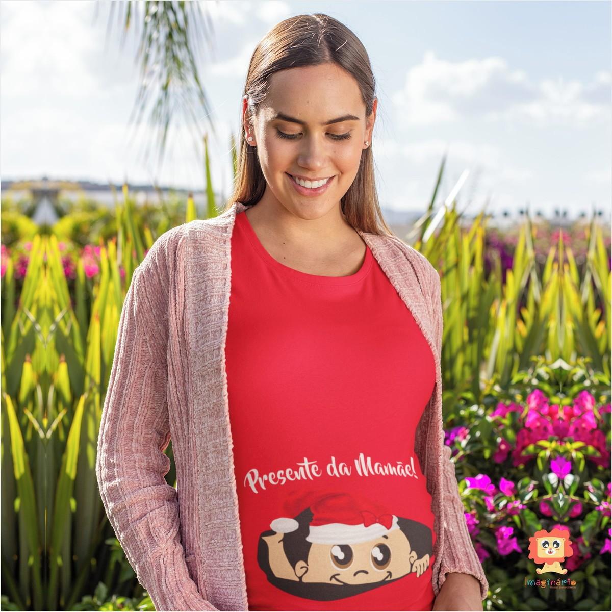 Bata ou Camiseta para Grávida Bebê Espiando Menina de Natal