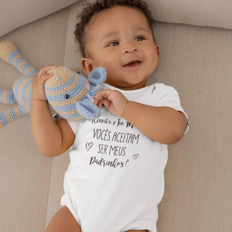 Body de Bebê Convite Vocês Aceitam Ser Meus Padrinhos - Dindos