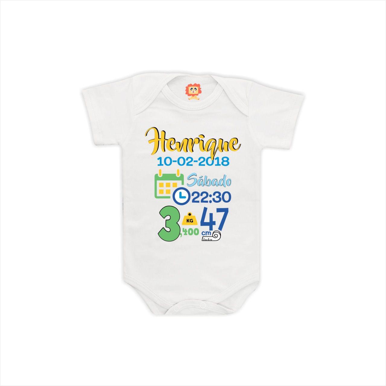 Body de Bebê Dados do Nascimento