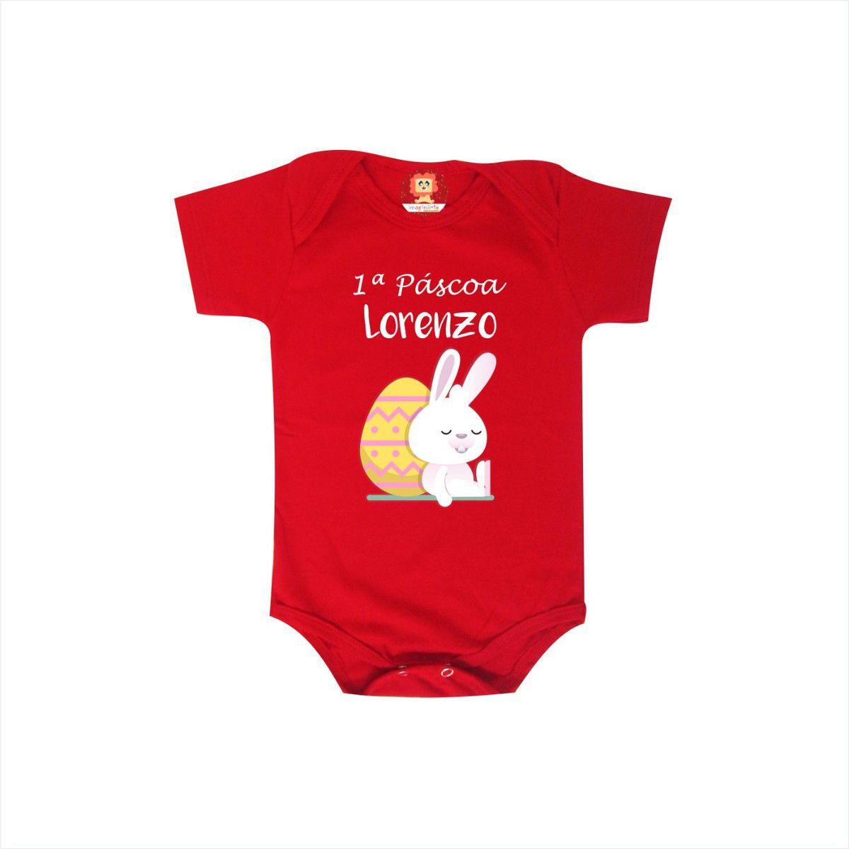 Body de Bebê Minha Primeira Páscoa Com Nome Personalizado