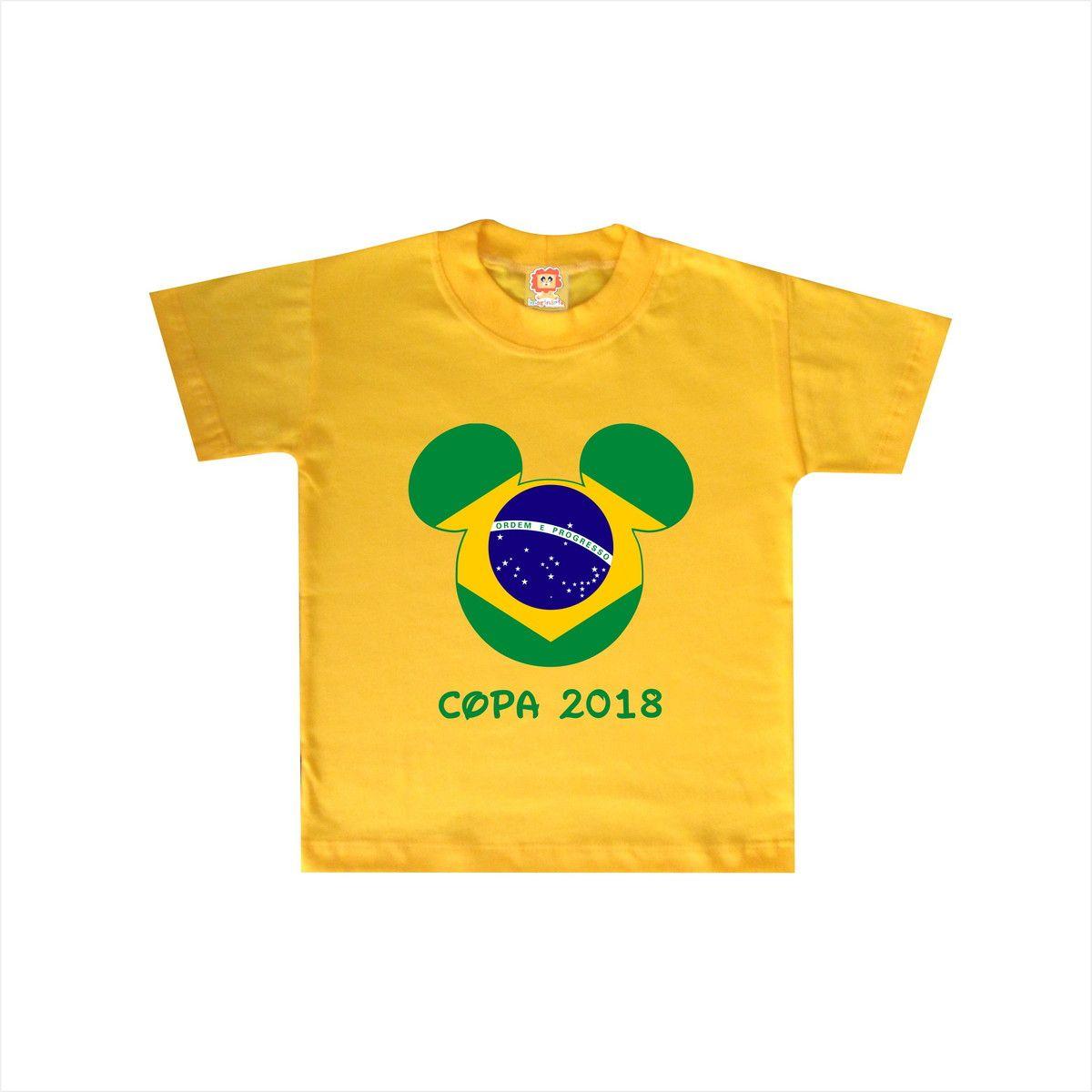 Body de Bebê ou Camiseta Brasil Mickey Copa do Mundo
