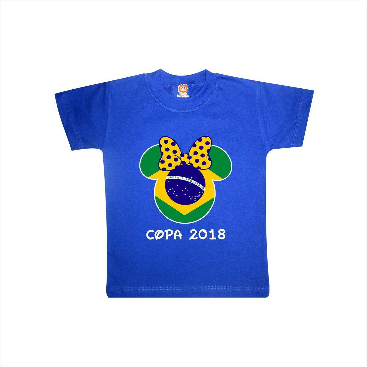 Body de Bebê ou Camiseta Brasil Minnie Copa do Mundo