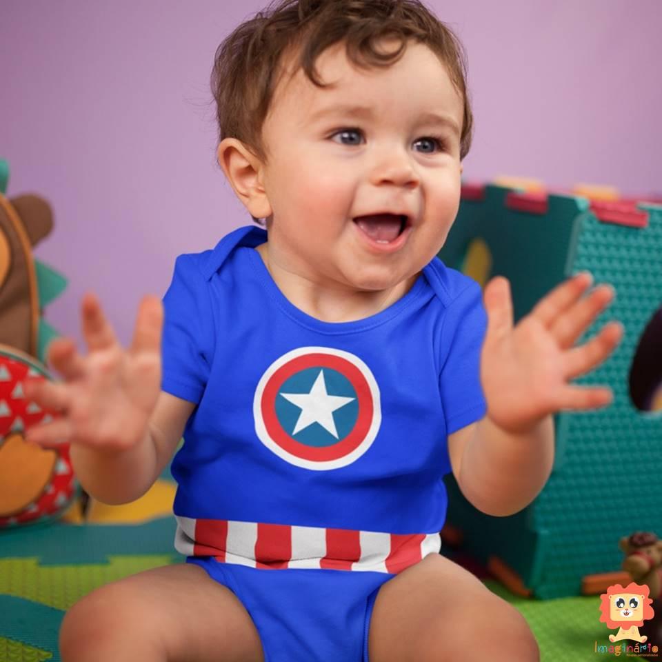 Body de Bebê ou Camiseta Capitão América Roupinha