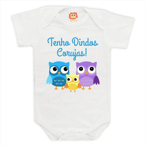 Body de Bebê ou Camiseta Eu Tenho Dindos Corujas