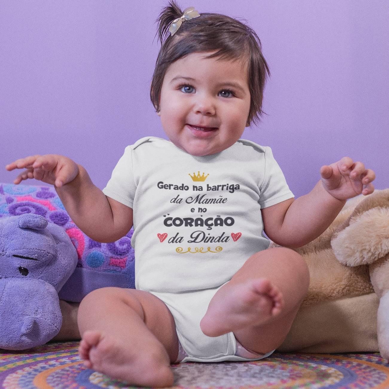 Body de Bebê ou Camiseta Gerado na Barriga da Mamãe e no Coração da Dinda