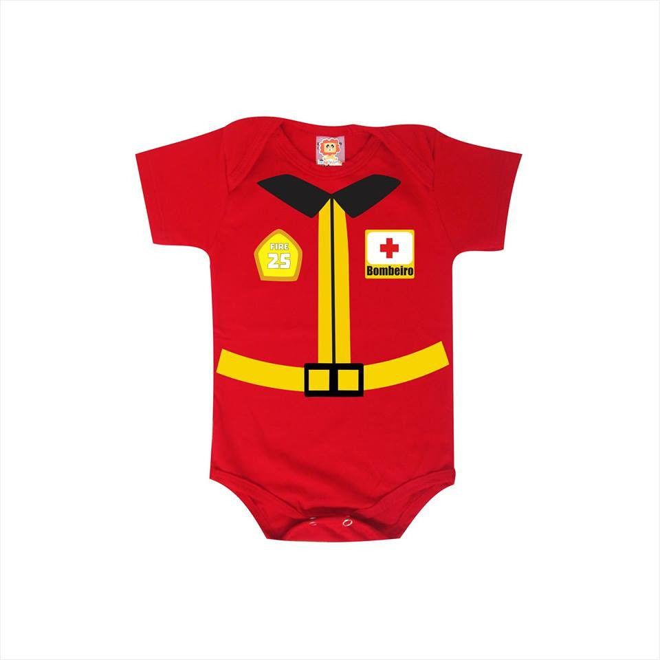 Body de Bebê ou Camiseta Infantil Bombeiro Fantasia