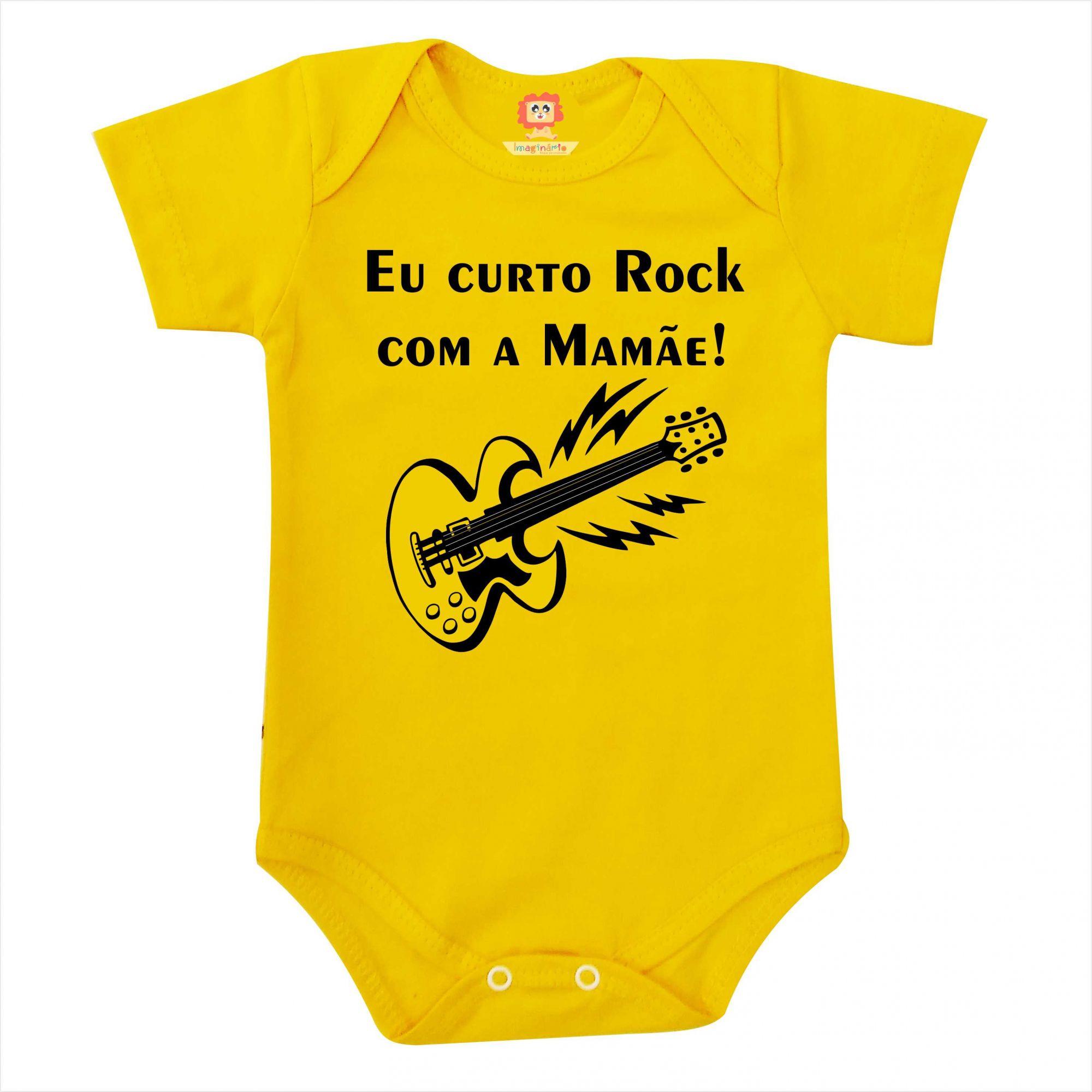 Body de Bebê ou Camiseta Infantil Eu Curto Rock com a Mamãe