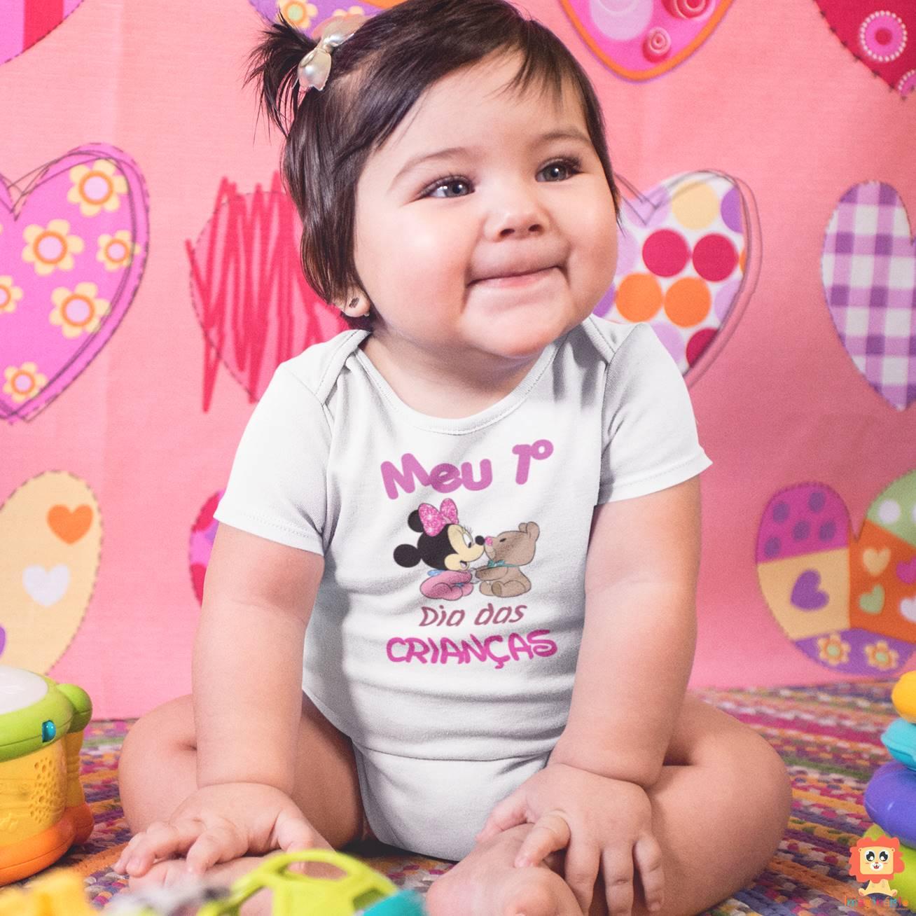 Body de Bebê ou Camiseta Infantil Meu Primeiro Dia das Crianças