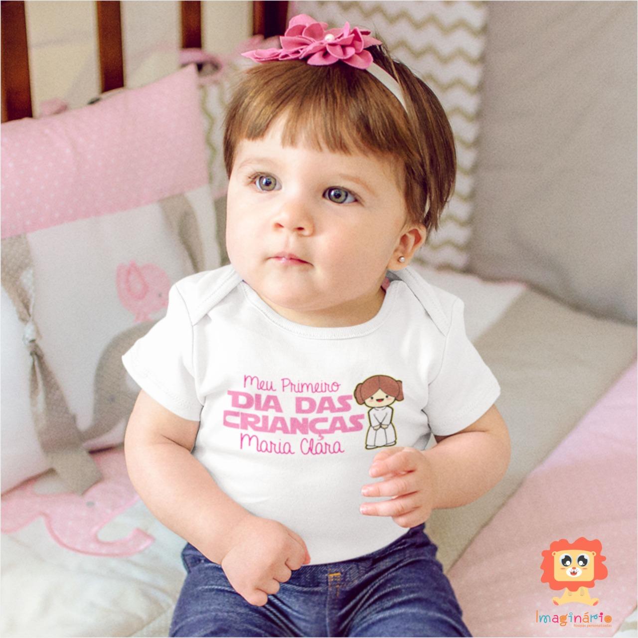 Body de Bebê ou Camiseta Infantil Meu Primeiro Dia das Crianças Star Wars