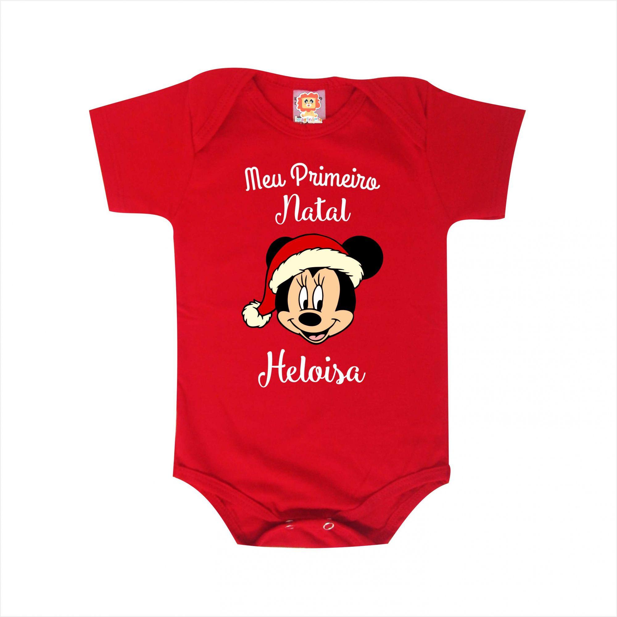 Body de Bebê ou Camiseta Meu Primeiro Natal Minnie Nome Personalizado