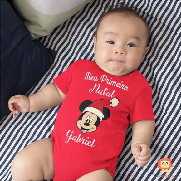 Body de Bebê ou Camiseta Meu Primeiro Natal Mickey Nome Personalizado