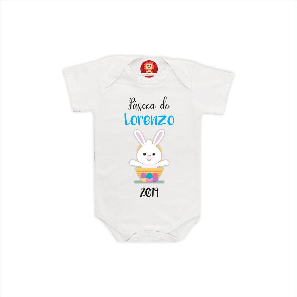 Body de Bebê ou Camiseta Primeira Páscoa Com Nome Perosnalizado