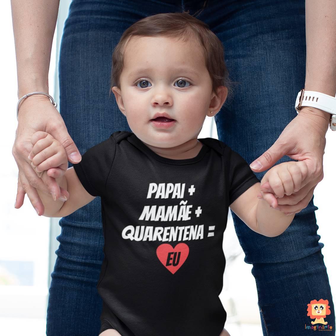 Body de Bebê Preto Quarentena Coração
