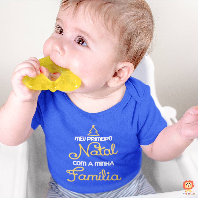 Body de Bebê Primeiro Natal em Família