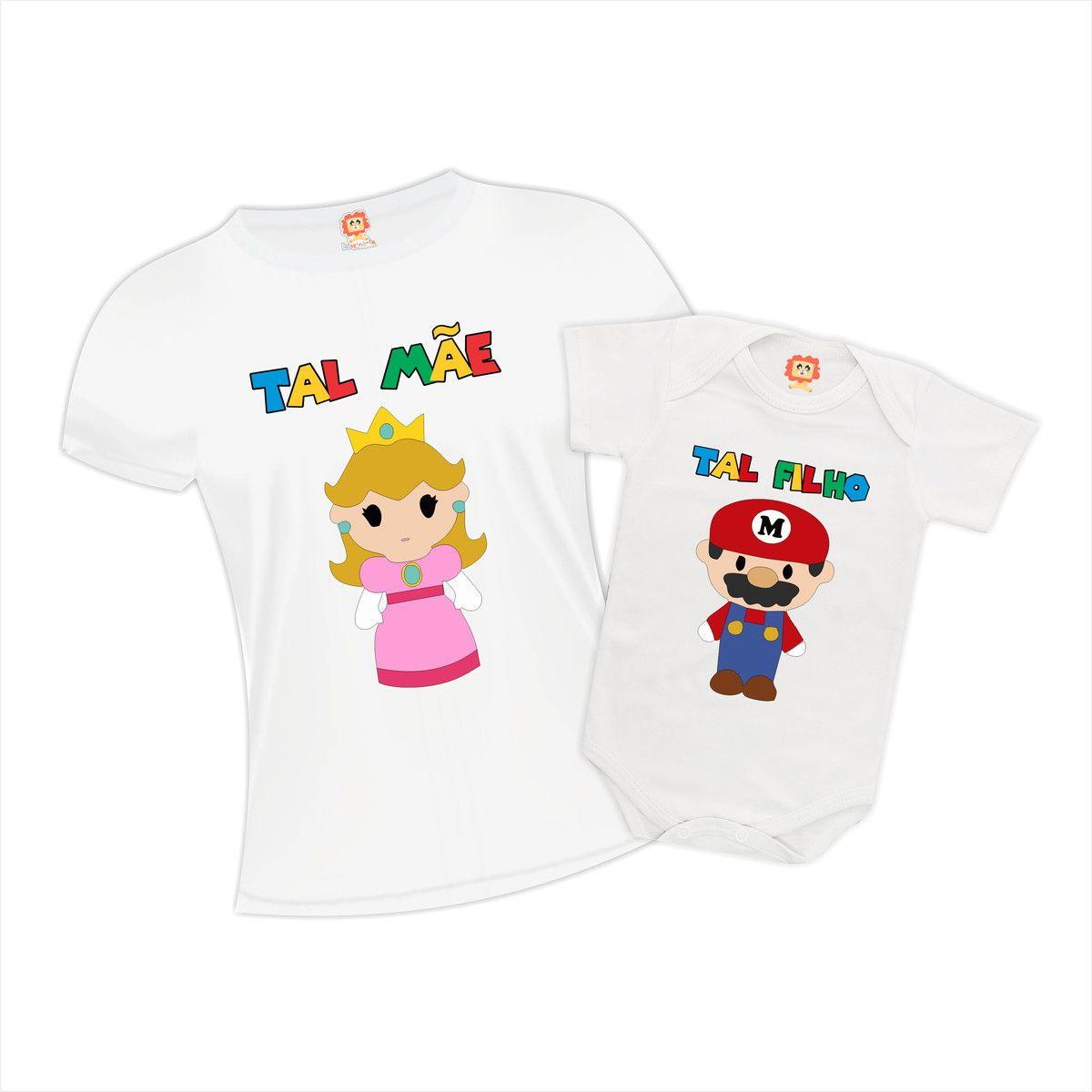 Body e Camiseta Mãe e Filho Super Mario