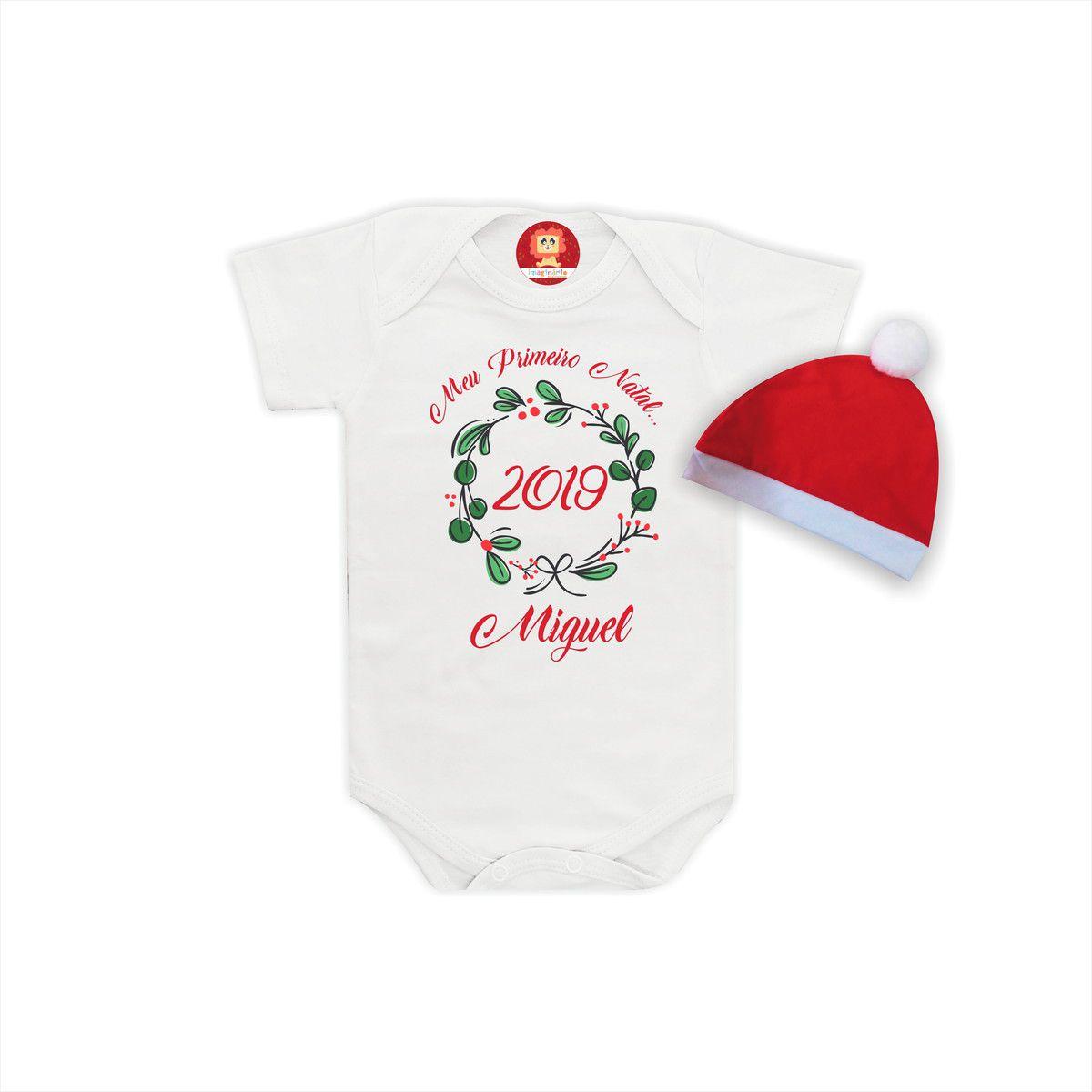 Body Infantil Personalizado Primeiro Natal com Nome do Bebê