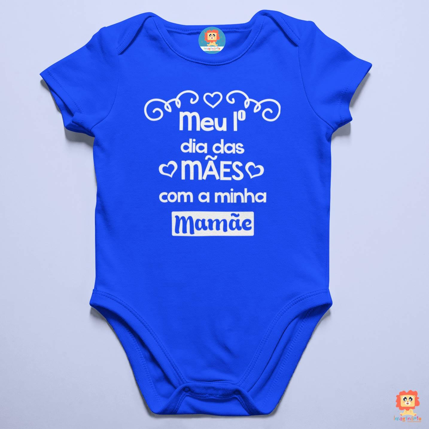 Body Azul Meu Primeiro Dia das Mães Corações