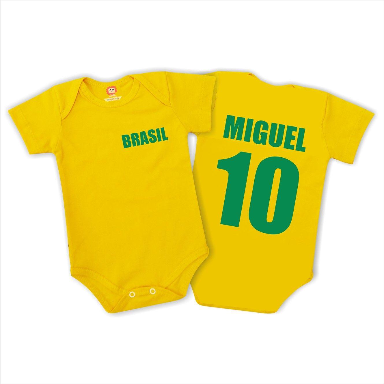 Body ou Camiseta Brasil Personalizado com Nome