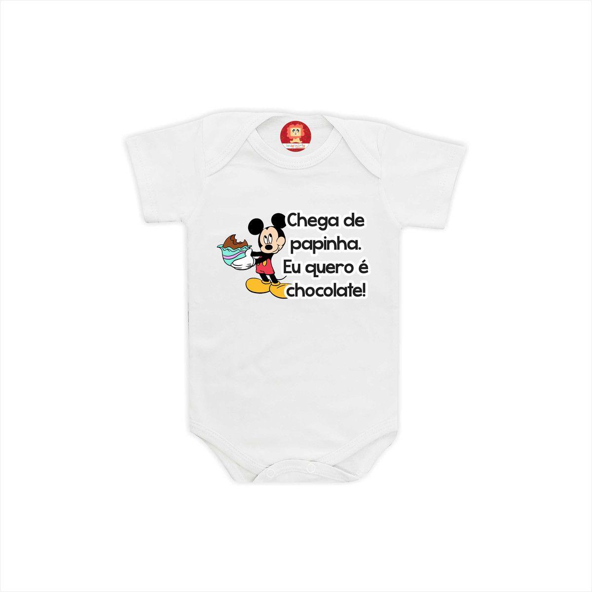 Body ou Camiseta Infantil Chega de Papinha Mickey