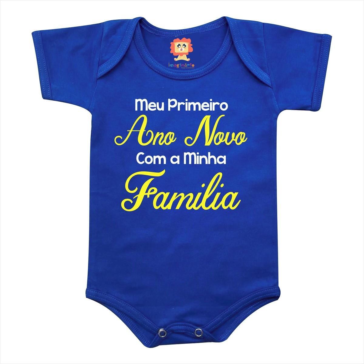 Body ou Camiseta Infantil Meu Primeiro Ano Novo com a Minha Família