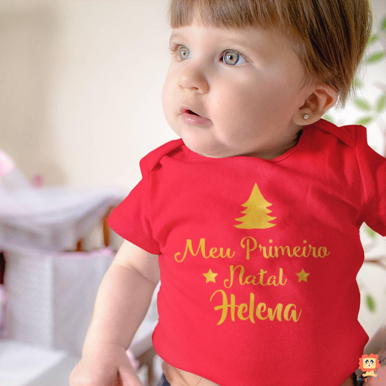 Body ou Camiseta  Infantil Meu Primeiro Natal com Nome