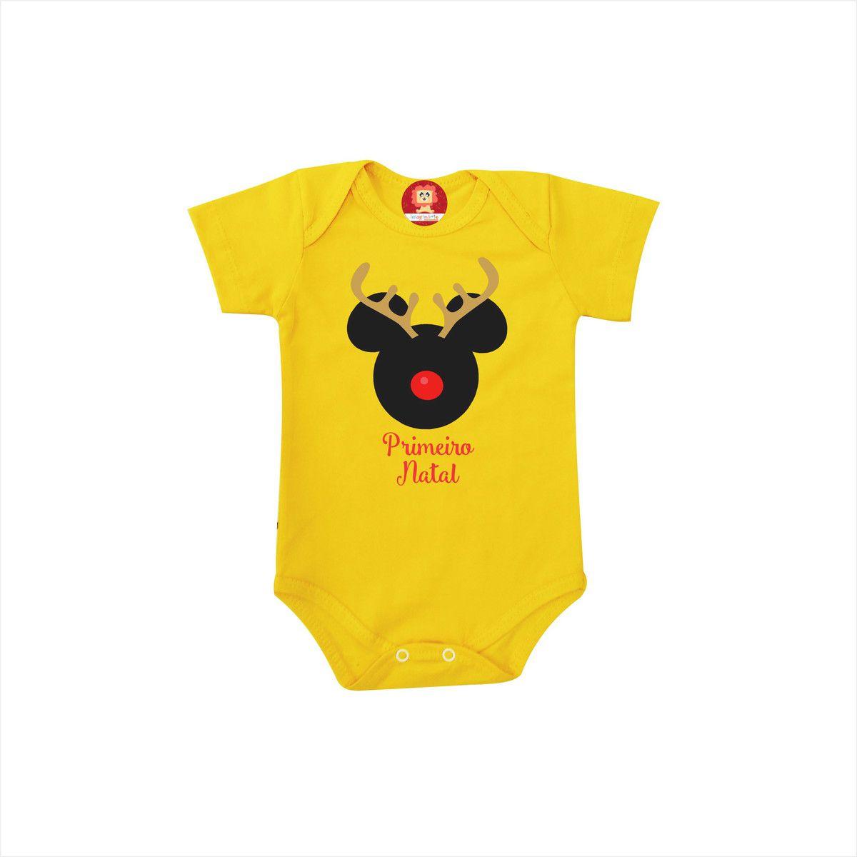 Body ou Camiseta Infantil Mickey Rena Primeiro Natal
