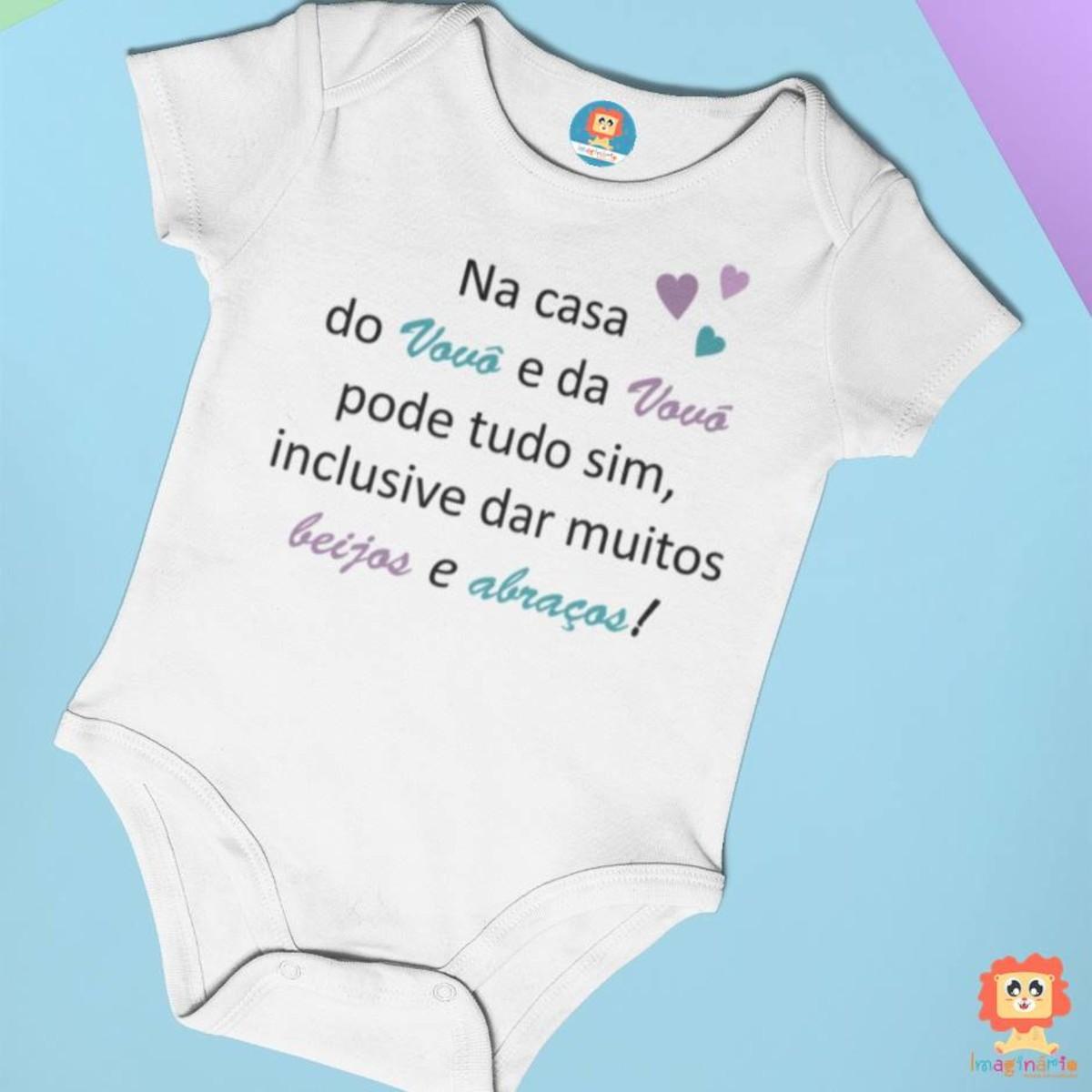 Body ou Camiseta Infantil Na Casa do Vovô e da Vovó