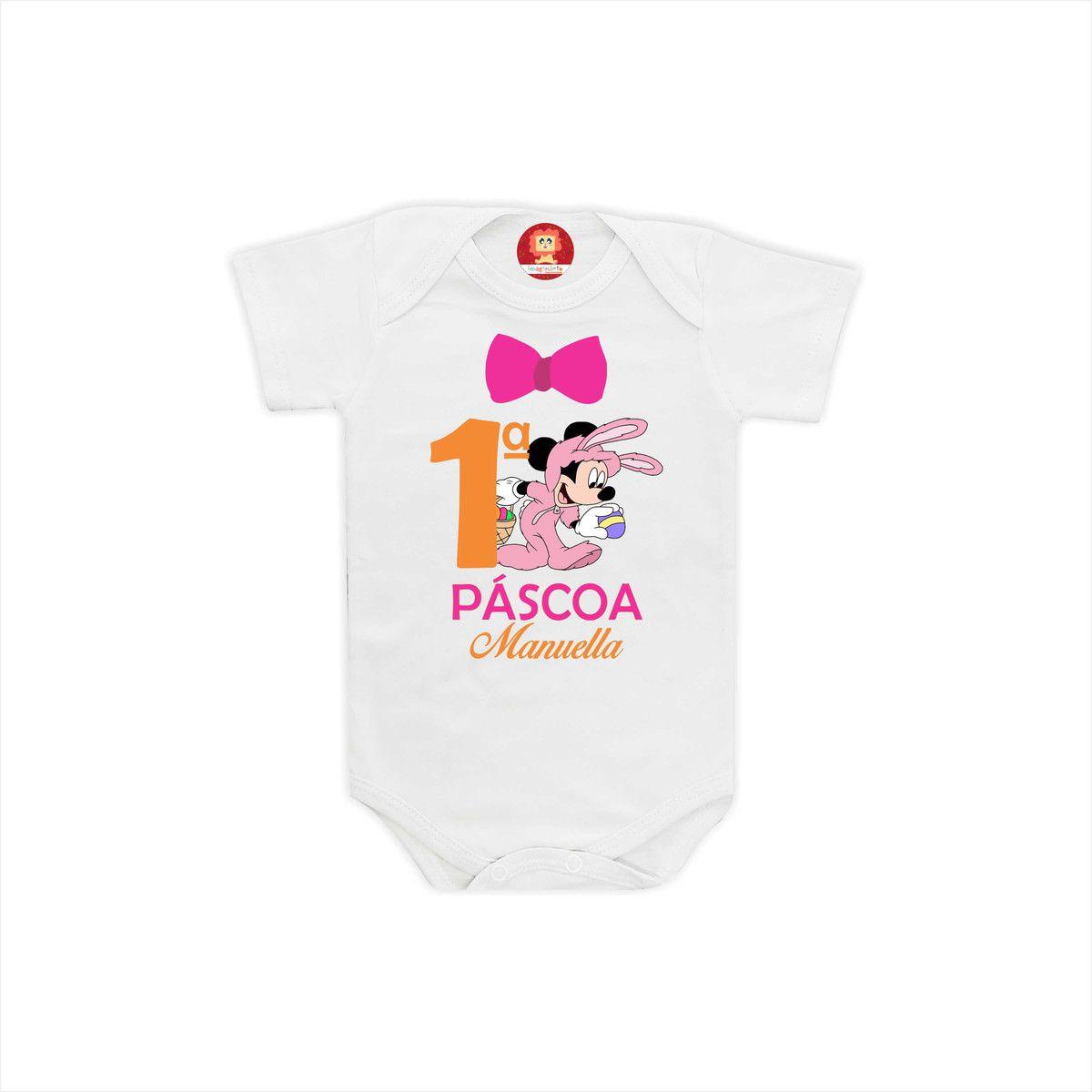 Body ou Camiseta Infantil Primeira Páscoa Minnie