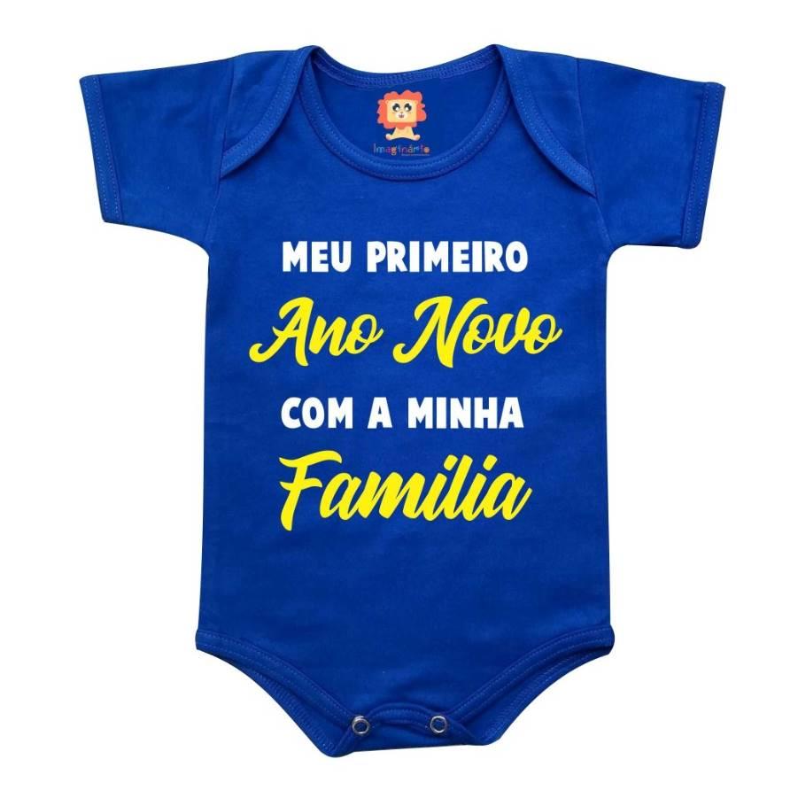 Body ou Camiseta Infantil Primeiro Ano Novo Com a Minha Família