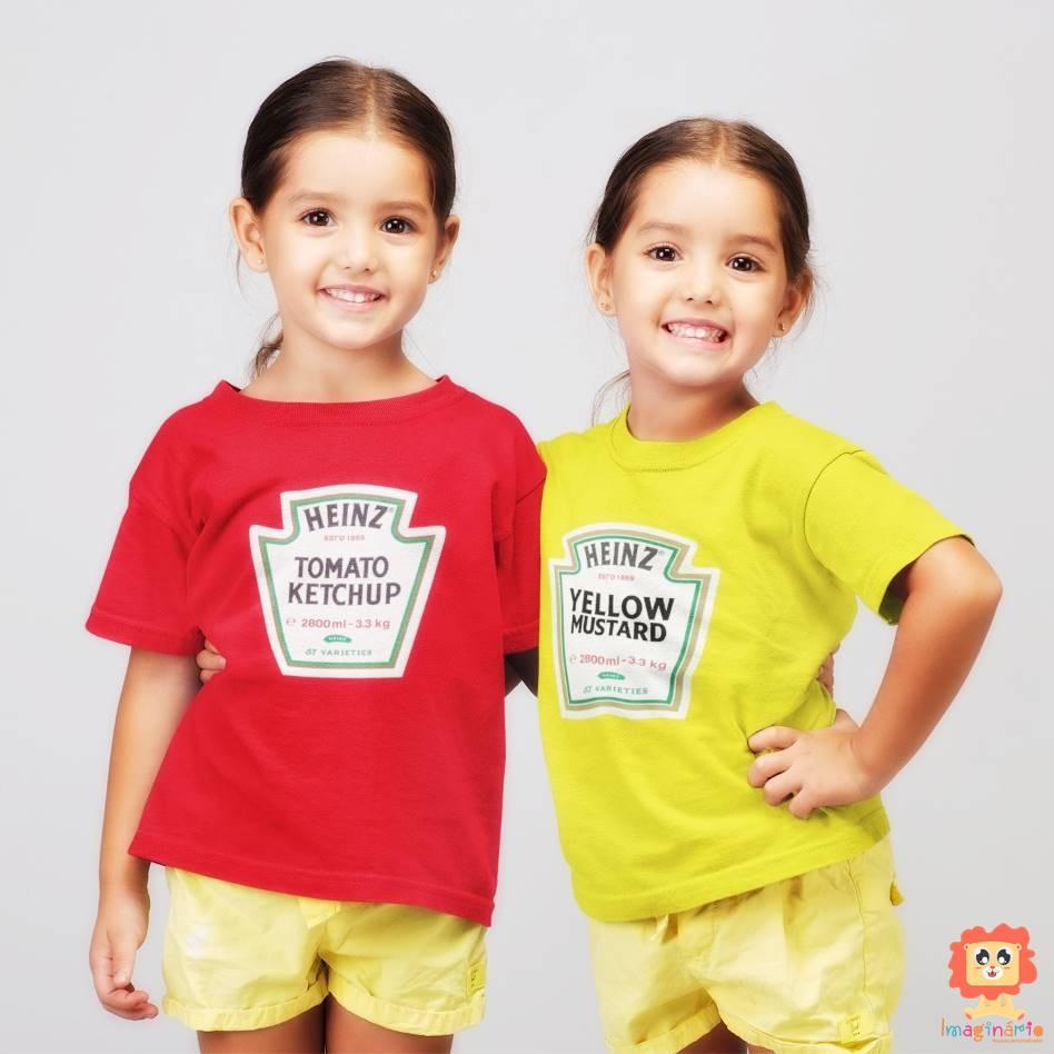 Body ou Camiseta Ketchup e Mostarda - Kit Irmãos