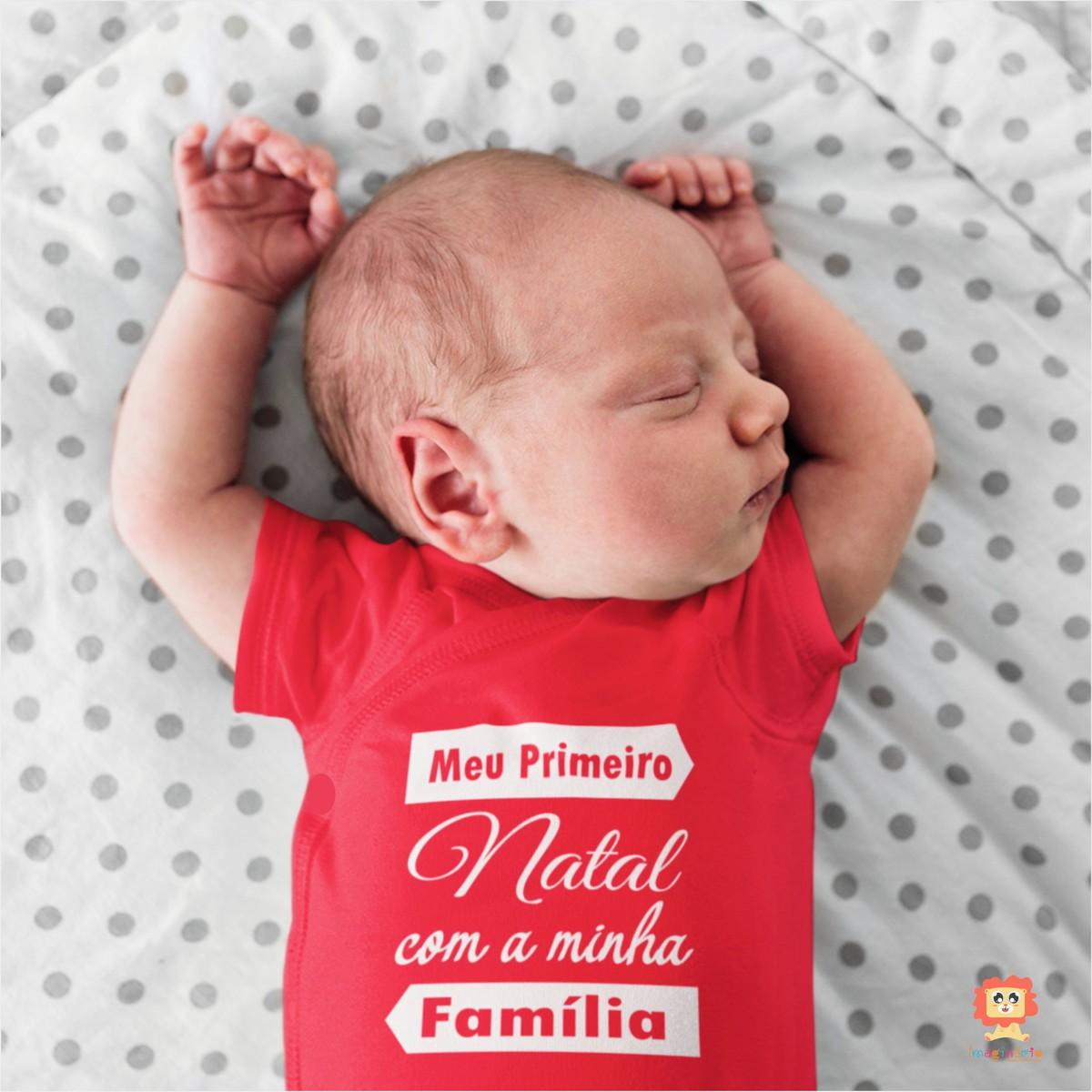 Body ou Camiseta Meu Primeiro Natal Com a Minha Família