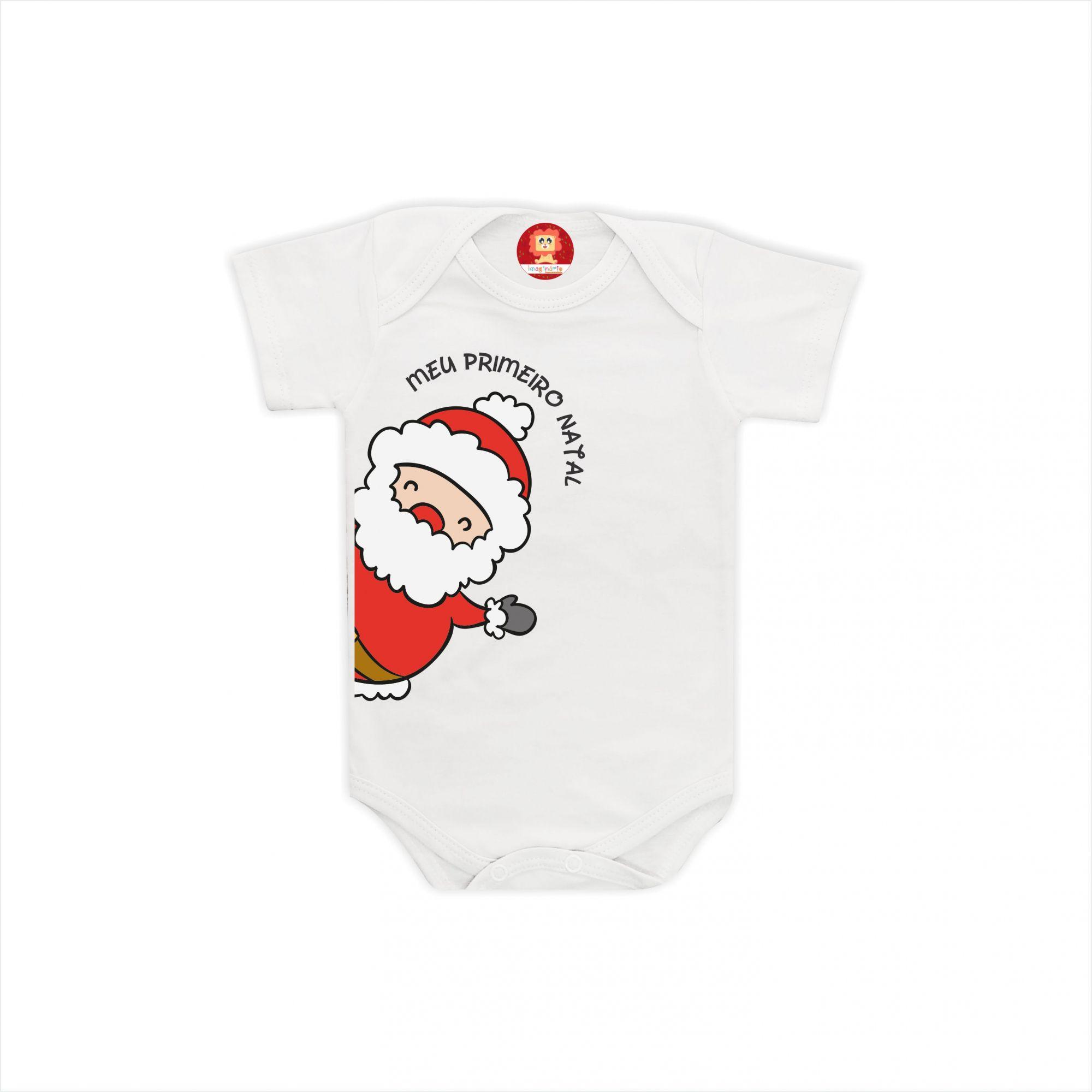 Body de Bebê ou Camiseta Meu Primeiro Natal Papai Noel