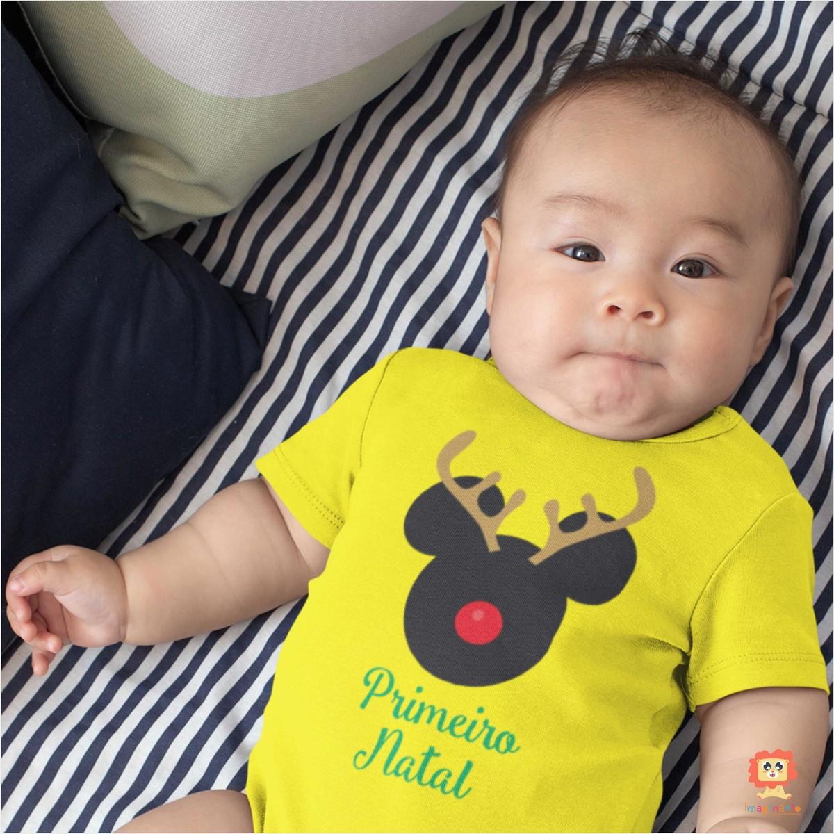 Body ou Camiseta Mickey Rena Primeiro Natal
