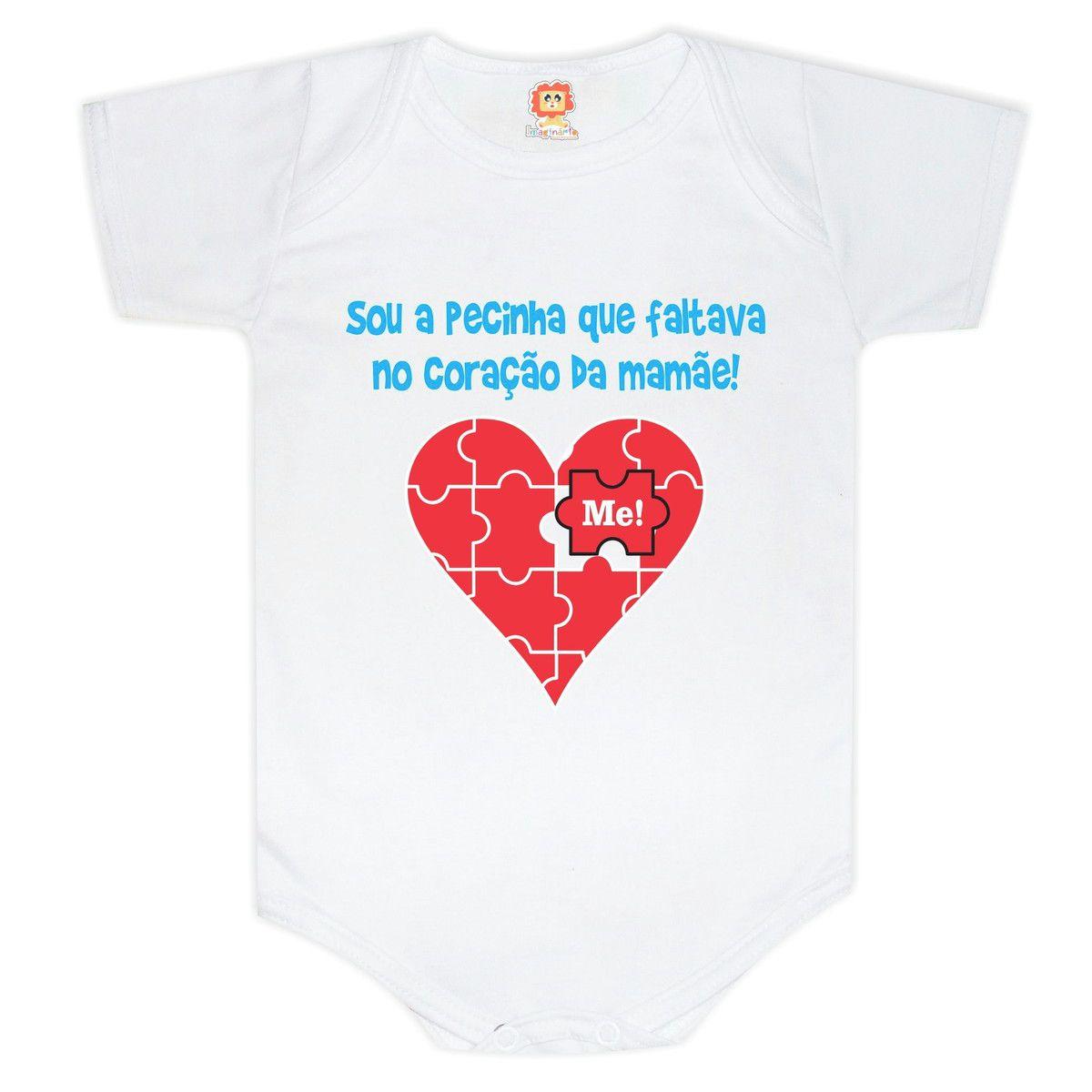Body ou Camiseta Pecinha Que Faltava no Coração da Mamãe