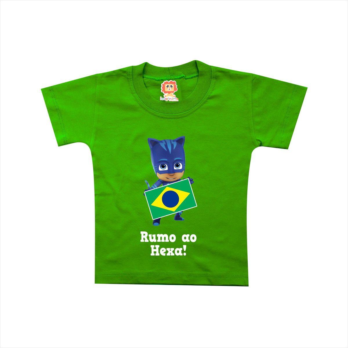 Body ou Camiseta PJ Masks Menino Gato Copa do Mundo Brasil