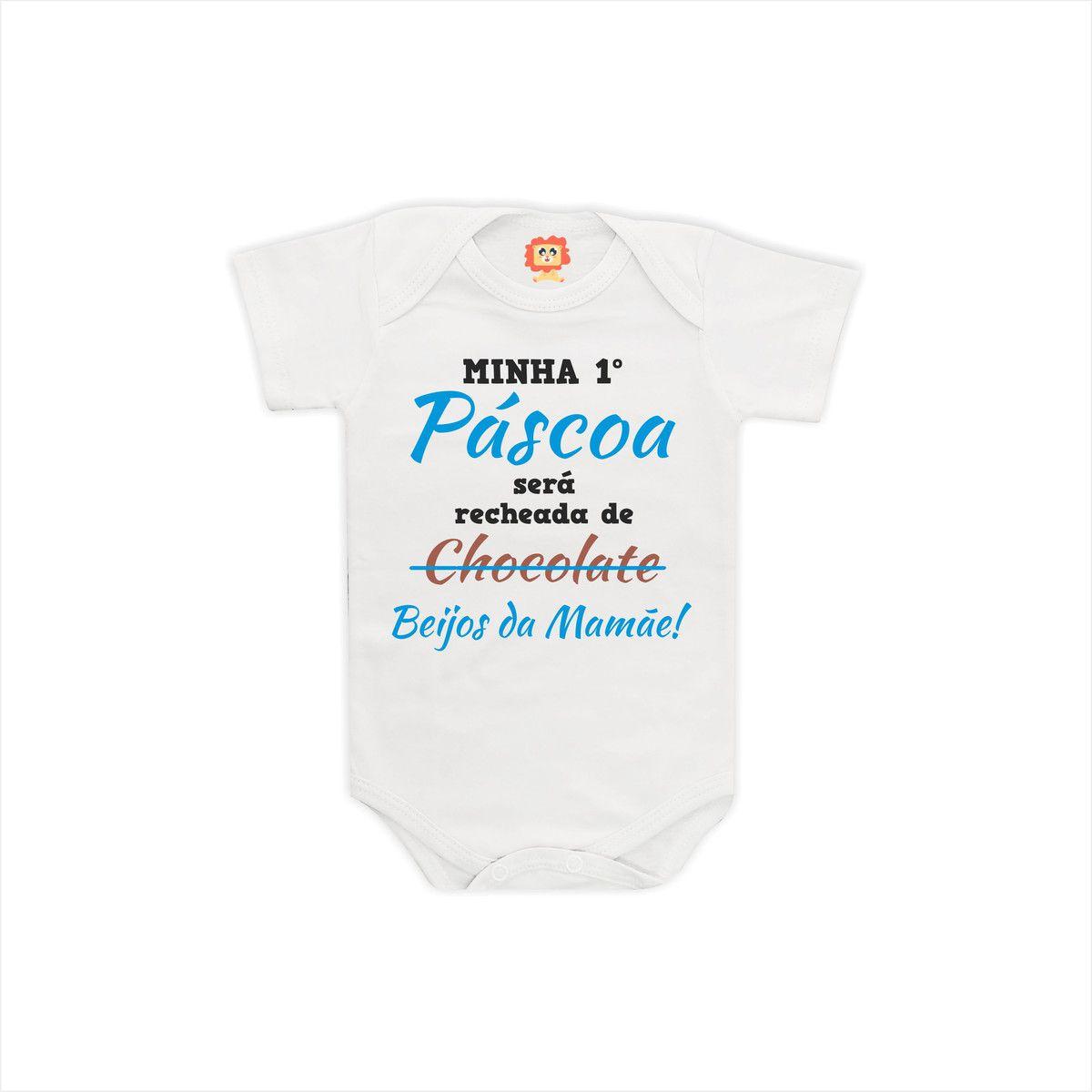 Body ou Camiseta Primeira Páscoa com Beijos da  Mamãe