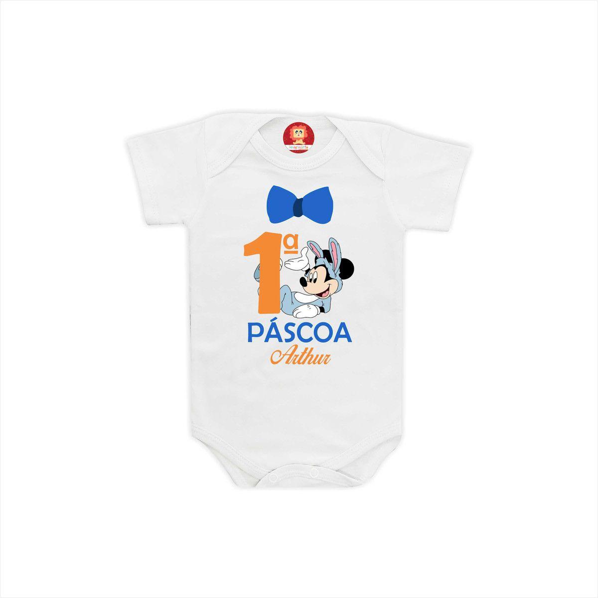Body ou Camiseta Primeira Páscoa Mickey