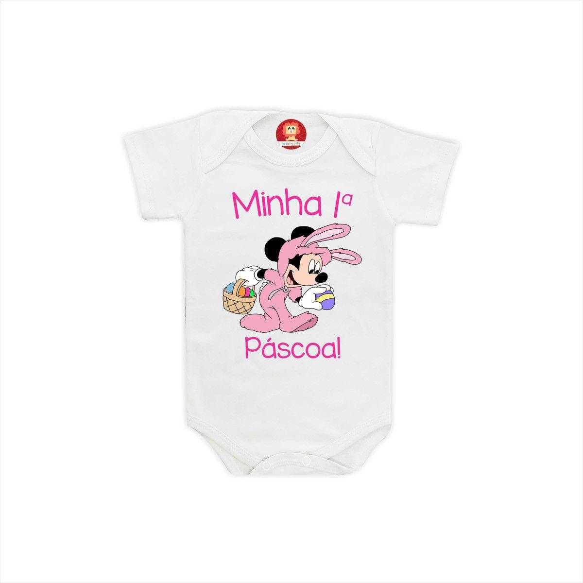Body ou Camiseta Primeira Páscoa Mickey e Minnie