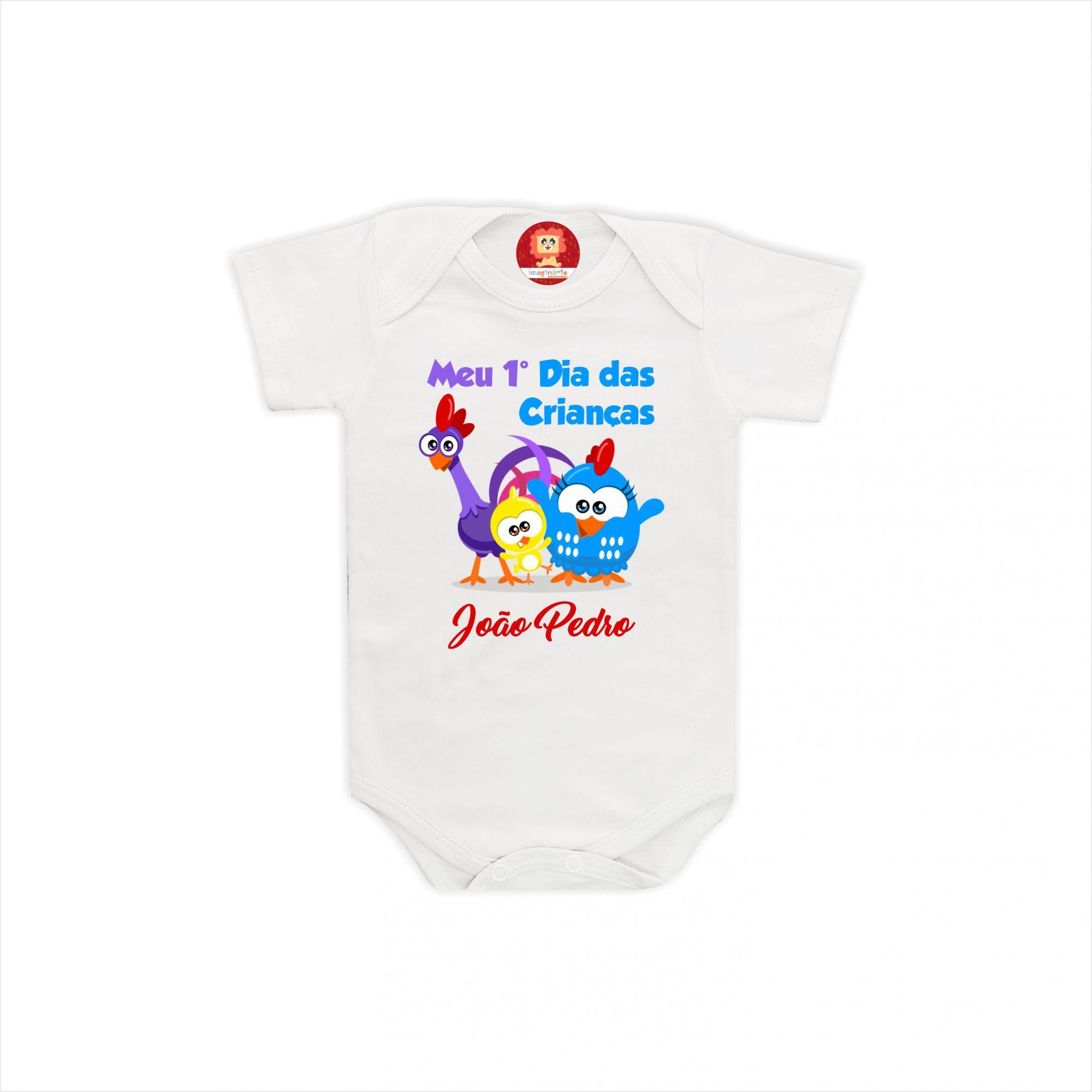 Body ou Camiseta Primeiro Dia das Crianças Galinha Pintadinha Mini