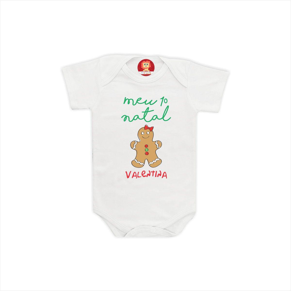 Body ou Camiseta Primeiro Natal Biscoito GINGERBREAD