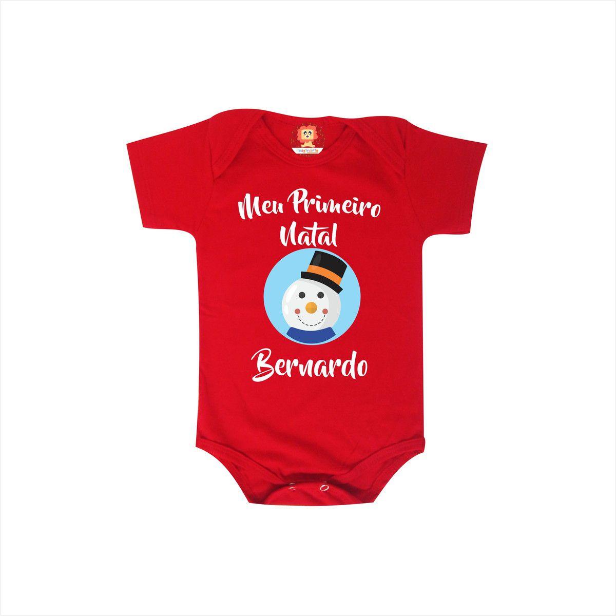Body ou Camiseta Primeiro Natal Boneco de Neve