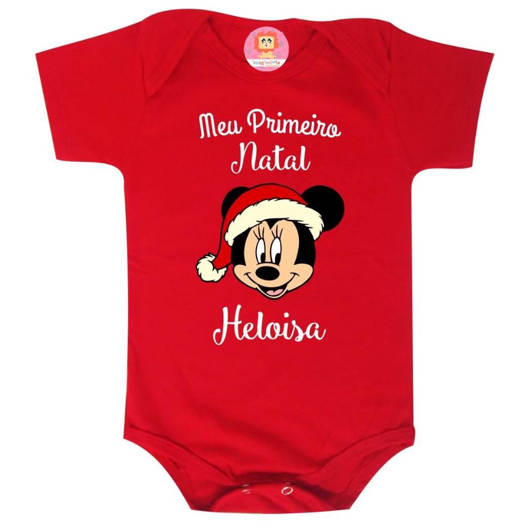 Body ou Camiseta Primeiro Natal com Nome Personalizado Minnie ou Mickey