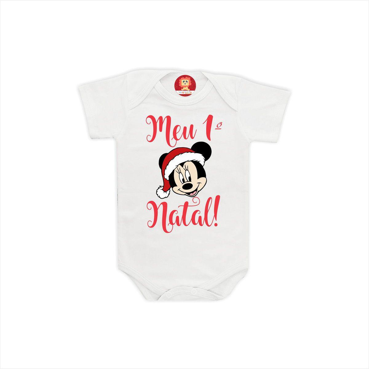 Body ou Camiseta Primeiro Natal Disney - Minnie e Pato Donald