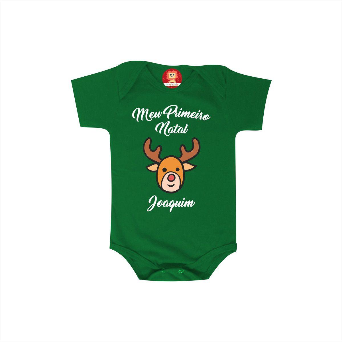 Body ou Camiseta Primeiro Natal Rena do Papai Noel