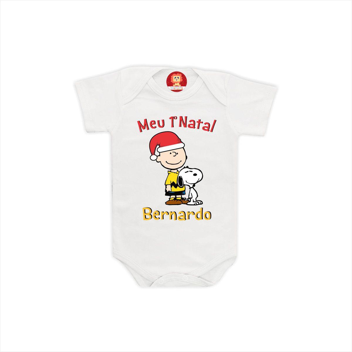 Body ou Camiseta Snoopy de Natal com Nome da Criança